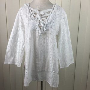 Revolve Line & Dot White Perforated Tunic